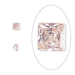 gem, cubic zirconia, sapphire rose, 4x4mm faceted square, mohs hardness 8-1/2. sold per pkg of 2.