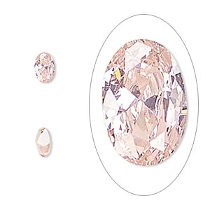 gem, cubic zirconia, sapphire rose, 6x4mm faceted oval, mohs hardness 8-1/2. sold per pkg of 2.