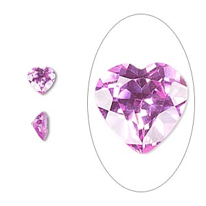 gem, cubic zirconia, sapphire rose, 6x6mm faceted heart, mohs hardness 8-1/2. sold per pkg of 2.