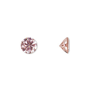 gem, cubic zirconia, sapphire rose, 8mm faceted round, mohs hardness 8-1/2. sold individually.