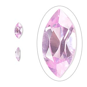 gem, cubic zirconia, sapphire rose, 8x4mm faceted marquise, mohs hardness 8-1/2. sold per pkg of 2.