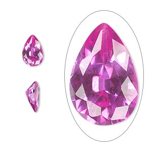 gem, cubic zirconia, sapphire rose, 9x6mm faceted pear, mohs hardness 8-1/2. sold individually.