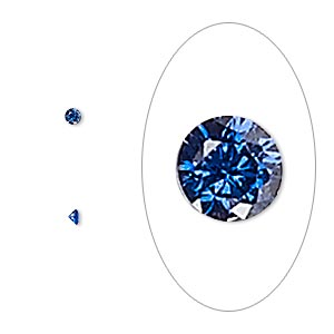 gem, cubic zirconia, spinel blue, 2mm faceted round, mohs hardness 8-1/2. sold per pkg of 10.