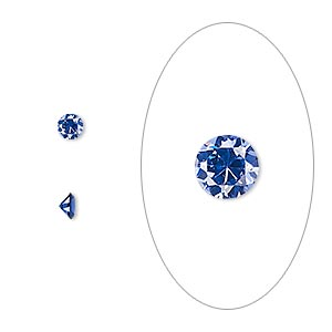 gem, cubic zirconia, spinel blue, 3.5mm faceted round, mohs hardness 8-1/2. sold per pkg of 5.
