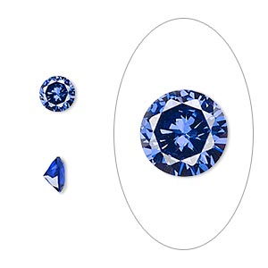gem, cubic zirconia, spinel blue, 6mm faceted round, mohs hardness 8-1/2. sold per pkg of 2.
