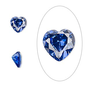 gem, cubic zirconia, spinel blue, 8x8mm faceted heart, mohs hardness 8-1/2. sold individually.