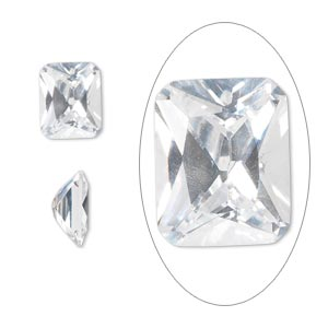 gem, cubic zirconia, spinel white, 10x8mm faceted emerald-cut, mohs hardness 8-1/2. sold individually.