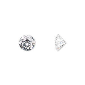 gem, cubic zirconia, spinel white, 8mm faceted round, mohs hardness 8-1/2. sold individually.