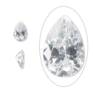 gem, cubic zirconia, spinel white, 9x6mm faceted pear, mohs hardness 8-1/2. sold individually.