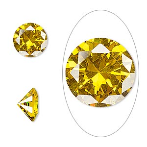 gem, cubic zirconia, topaz gold, 10mm faceted round, mohs hardness 8-1/2. sold individually.