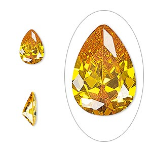 gem, cubic zirconia, topaz gold, 10x7mm faceted pear, mohs hardness 8-1/2. sold individually.