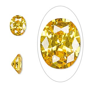gem, cubic zirconia, topaz gold, 10x8mm faceted oval, mohs hardness 8-1/2. sold individually.