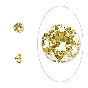 gem, cubic zirconia, topaz gold, 5mm faceted round, mohs hardness 8-1/2. sold per pkg of 2.
