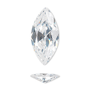 gem, cubic zirconia, white, 14x7mm faceted marquise, mohs hardness 8-1/2. sold individually.