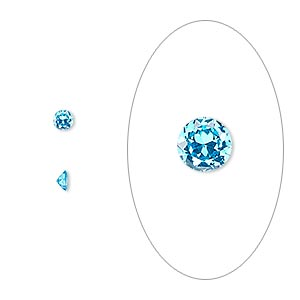 gem, cubic zirconia, zircon blue, 3mm faceted round, mohs hardness 8-1/2. sold per pkg of 5.
