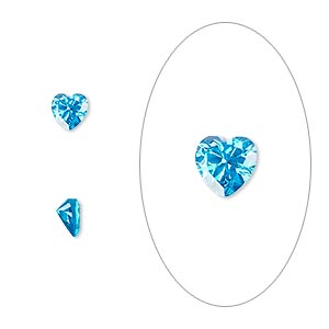 gem, cubic zirconia, zircon blue, 5x5mm faceted heart, mohs hardness 8-1/2. sold per pkg of 2.