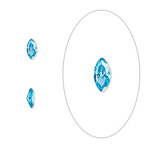 gem, cubic zirconia, zircon blue, 6x3mm faceted marquise, mohs hardness 8-1/2. sold per pkg of 5.