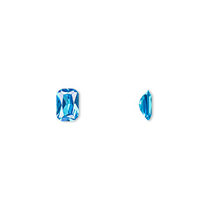 gem, cubic zirconia, zircon blue, 6x4mm faceted emerald-cut, mohs hardness 8-1/2. sold per pkg of 2.
