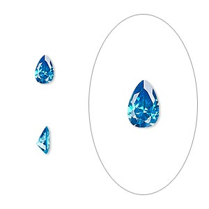 gem, cubic zirconia, zircon blue, 6x4mm faceted pear, mohs hardness 8-1/2. sold per pkg of 2.