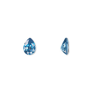 gem, cubic zirconia, zircon blue, 7x5mm faceted pear, mohs hardness 8-1/2. sold per pkg of 2.