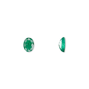 gem, emerald (oiled), 7x5mm faceted oval, b grade, mohs hardness 7-1/2 to 8. sold individually.