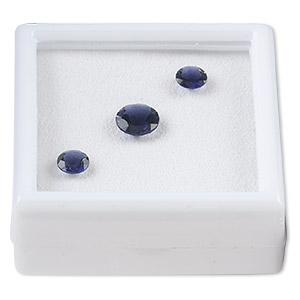 gem, iolite (natural), (2) 6mm and (1) 8mm faceted round, b grade, mohs hardness 7 to 7-1/2. sold per 3-piece set.