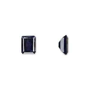 gem, iolite (natural), 9x7mm faceted emerald-cut, a grade, mohs hardness 7 to 7-1/2. sold individually.