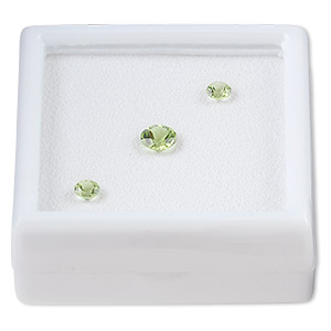 gem, peridot (natural), (2) 4mm and (1) 6mm faceted round, a grade, mohs 6-1/2 to 7. sold per 3-piece set.