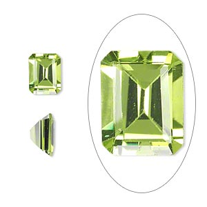 gem, peridot (natural), 9x7mm faceted emerald-cut, a grade, mohs hardness 6-1/2 to 7. sold individually.
