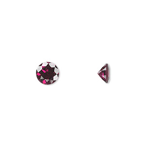 gem, rhodolite garnet (natural), 6mm hand-cut faceted round, a grade, mohs hardness 7 to 7-1/2. sold individually.