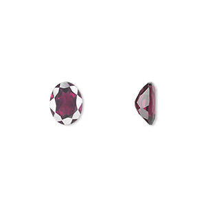 gem, rhodolite garnet (natural), 8x6mm hand-cut faceted oval, a grade, mohs hardness 7 to 7-1/2. sold individually.