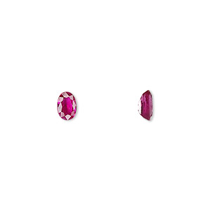 gem, ruby (heated), 6x4mm faceted oval, a grade, mohs hardness 9. sold individually.