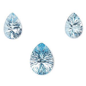 gem, sky blue topaz (irradiated), (2) 13x9mm and (1) 16x12mm hand-cut undrilled faceted teardrop, a- grade, mohs hardness 8. sold per 3-piece set.