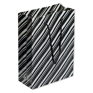 gift bag, polypropylene and nylon, black and white, 4 x 3 x 1-3/4 inches with stripe design and handle. sold per pkg of 10.