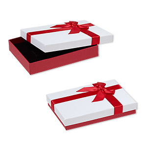 gift box, cardboard / paper / velveteen / nylon, red shimmer / white / black, 1 x 4-1/2 x 6-inch rectangle with ribbon and bow. sold per pkg of 12.