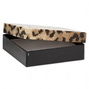 gift box, leopard print, 3-1/2 x 3-1/2 x 7/8 inch square with cotton filling. sold per pkg of 100.