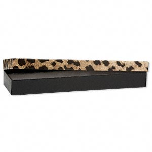 gift box, leopard print, 8 x 2 x 7/8 inch rectangle with cotton filling. sold per pkg of 10.