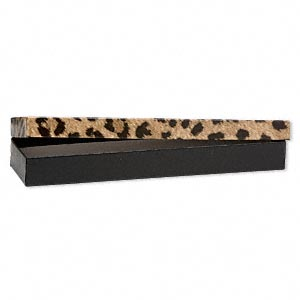 gift box, leopard print, 8 x 2 x 7/8 inch rectangle with cotton filling. sold per pkg of 100.