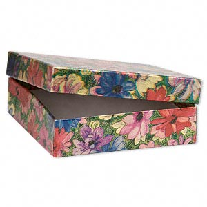 gift box, metallic floral, 3-1/2 x 3-1/2 x 1 inch rectangle with cotton filling. sold per pkg of 100.