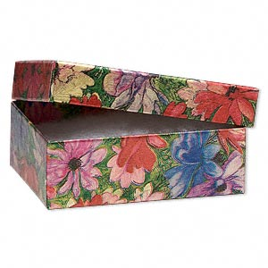 gift box, metallic floral, 3 x 2-1/8 x 1 inch rectangle with cotton filling. sold per pkg of 10.