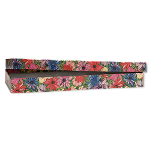 gift box, metallic floral, 8 x 2 x 7/8 inch rectangle with cotton filling. sold per pkg of 10.