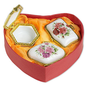 gift box mix, porcelain / acrylic / gold-finished pewter (zinc-based alloy), white and multicolored, 2x1-1/2 to 2-1/4 x 2-inch hinged mixed shape with rose and leaves decal. sold per 3-piece set.