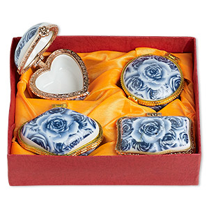 gift box mix, porcelain and acrylic, blue / white / gold, 2-1/2 x 2 to 3x2-inch hinged mixed shape with rose decal. sold per 4-piece set.