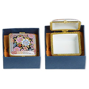 gift box mix, porcelain and acrylic, gold and multicolored, 1-1/2 x 1 to 3x2-inch hinged mixed shape with flower and geometric decal. sold individually.