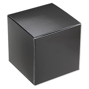 gift box, paper, shiny black, 3x3-inch square. sold per pkg of 4.