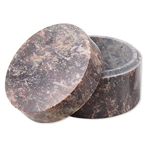 gift box, soapstone (natural), 1-1/4 x 2-1/4  inch round. sold individually.