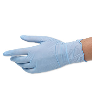 gloves, ambitex, nitrile rubber, blue, medium. sold per pkg of 5 pairs.