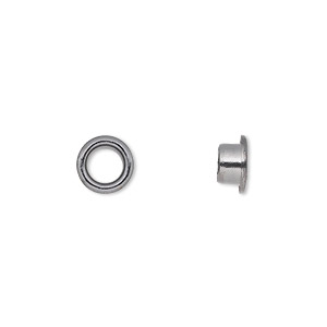 grommet, glue-in, gunmetal-plated brass, 8mm round, 5mm inside diameter. sold per pkg of 100.