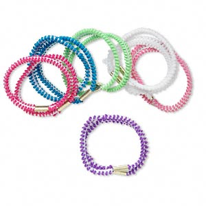 hair tie, stretch, nylon and steel, assorted two-tone colors, 4mm wide, 7 inches. sold per pkg of 12. minimum 5 per order.