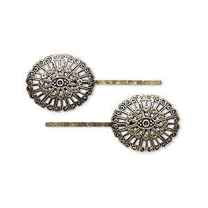 hairpin, laliberi™, antiqued brass-finished steel, 1-3/4 inches with 29x25mm filigree oval. sold per pkg of 2.